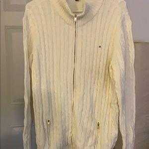 Off white zip up cardigan